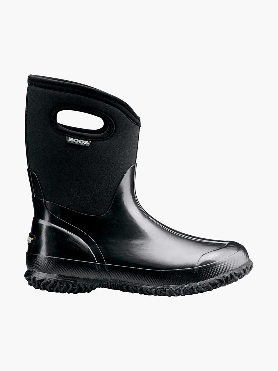 Womens Boots bogs black mid handle shiny zs1x48r6