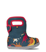 Shop Baby Bogs, a perfect winter boot for toddlers.  The featured product is the Baby Bogs Dinosaurs in indigo multi.
